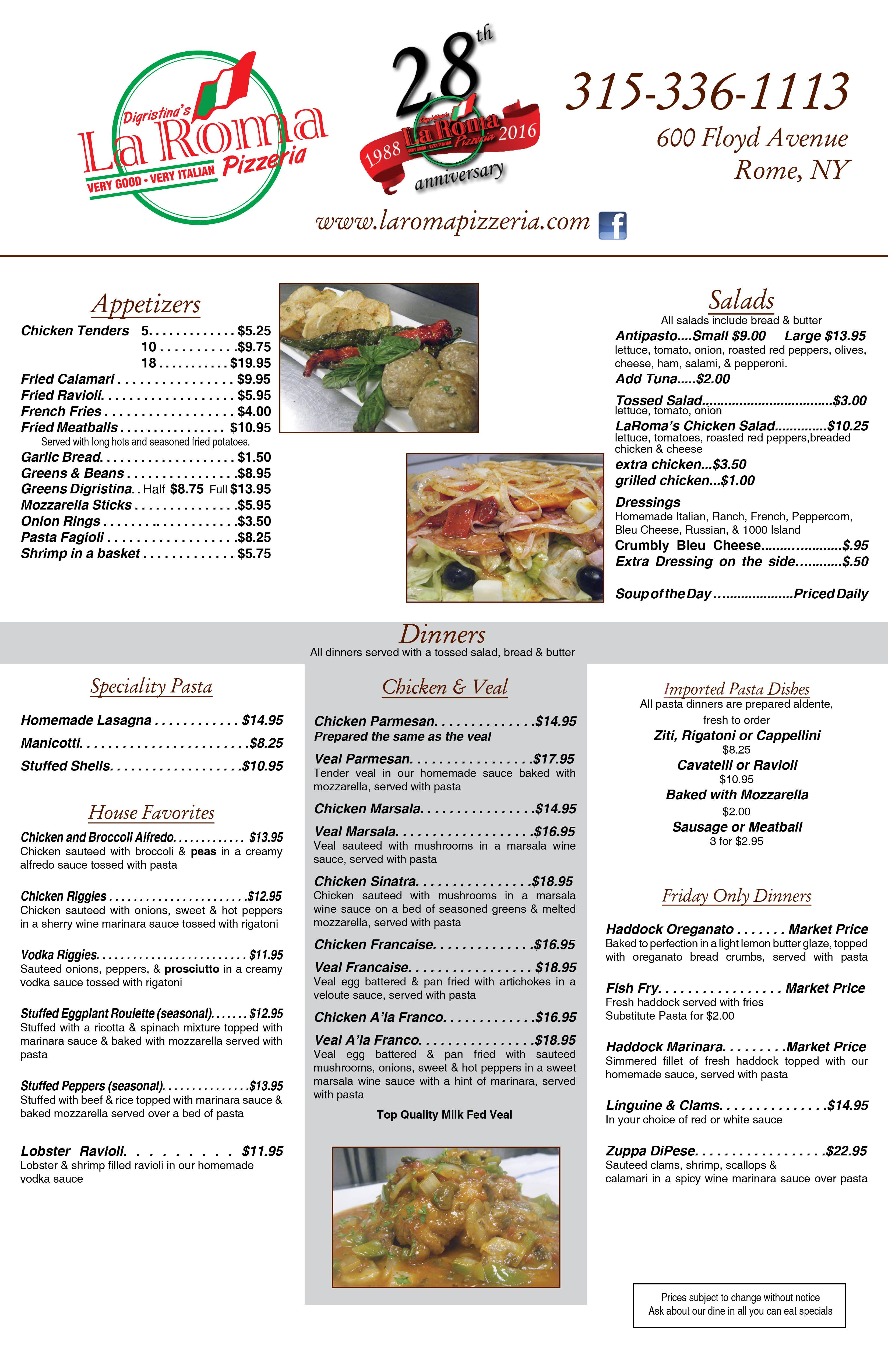 Click to Download the La Roma Takeout Menu